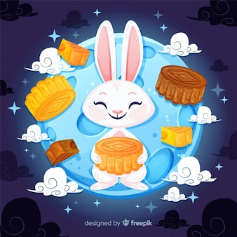 Fondo del festival de medio otoño con conejo lindo