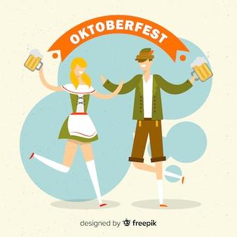 Fondo del oktoberfest con pareja