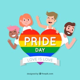 Fondo del orgullo lgbt con personas felices