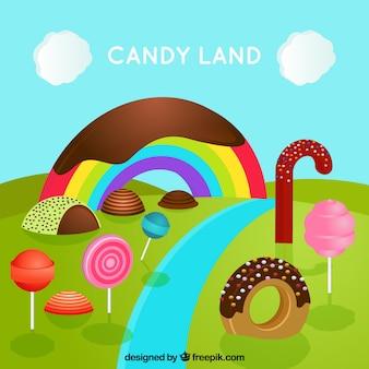 Fondo del país de los dulces en perspectiva isométrica