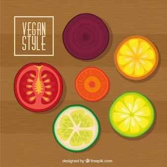 Fondo de deliciosas rodajas de verdura