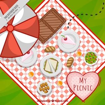 Fondo de delicioso picnic en una vista superior