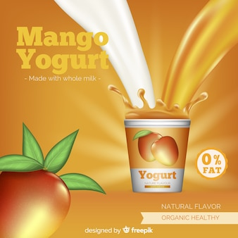 Fondo delicioso yogur de mango