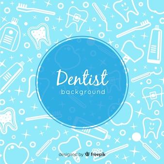 Fondo de dentista en diseño plano
