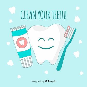 Fondo de dentistas cuidando un diente