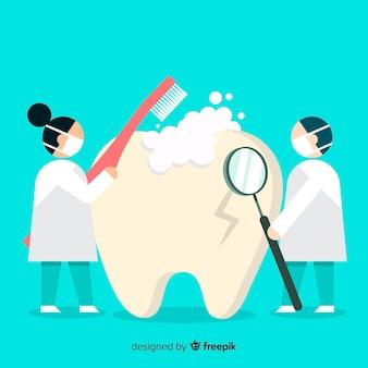 Fondo de dentistas cuidando la salud bucal