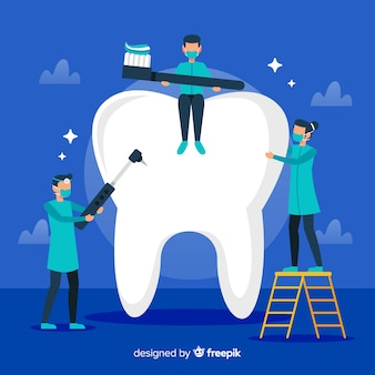 Fondo dentistas limpiando diente grande