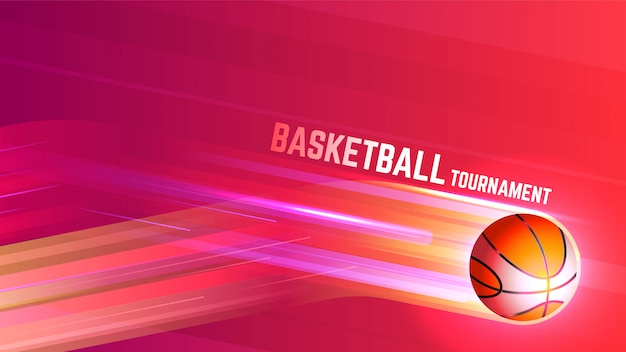Fondo de deportes de torneo de baloncesto con luces