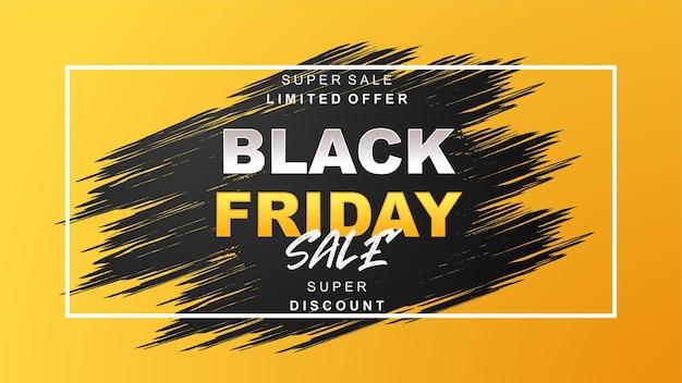 Fondo de descuento de venta de viernes amarillo de trazo de pincel negro