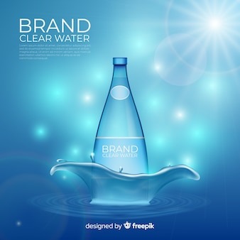 Fondo desenfocado de anuncio de agua mineral