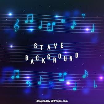 Fondo desenfocado de pentagrama y notas musicales brillantes