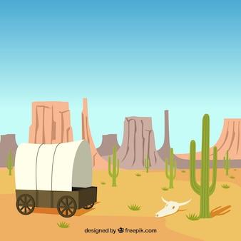 Fondo del desierto con carruaje y montañas rocosas