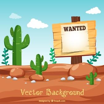 Fondo del desierto con cartel de se busca