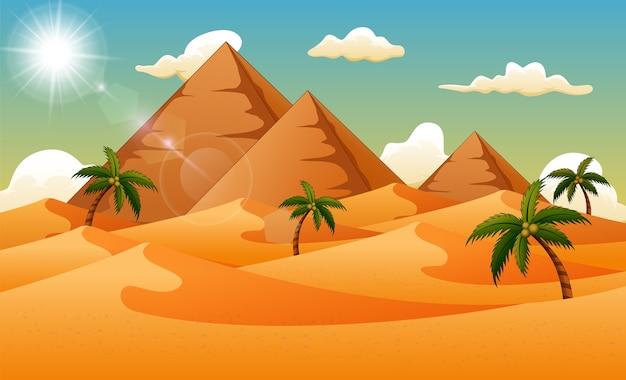 Fondo del desierto con pirámide y palmeras.