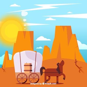 Fondo del desierto plano con caballo y carruaje