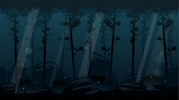 Fondo de desplazamiento de bosque nocturno