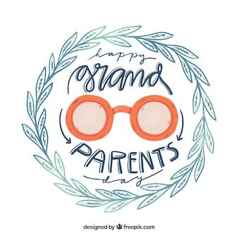 Fondo del día de los abuelos corona de hojas dibujada a mano y gafas