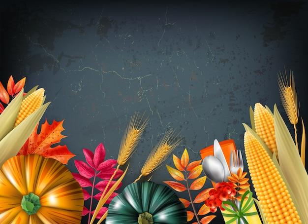 Fondo del día de acción de gracias con calabazas multicolores 3d y realistas y hojas de naranja ilustración vectorial