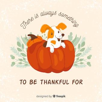 Fondo  día de acción de gracias en diseño plano con perro adorable