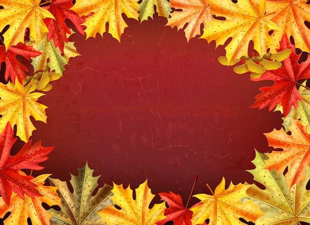 Fondo del día de acción de gracias con hojas de una ilustración de vector de estilo de árbol de arce