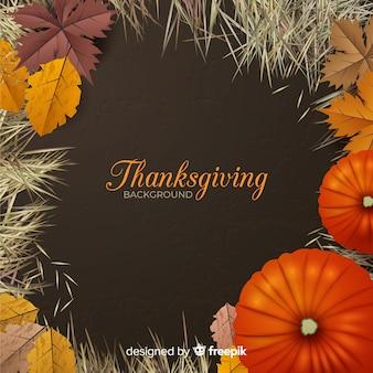Fondo de día de acción de gracias realista con hojas y calabaza