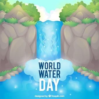 Fondo del día del agua con cascada