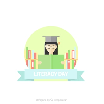 Fondo del día de la alfabetización con mujer leyendo un libro en diseño plano