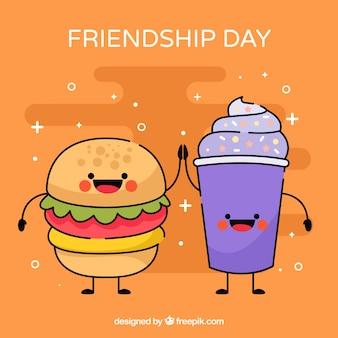 Fondo de día de la amistad con caricatura de comida