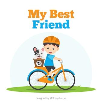 Fondo de día de la amistad con chico y su perro