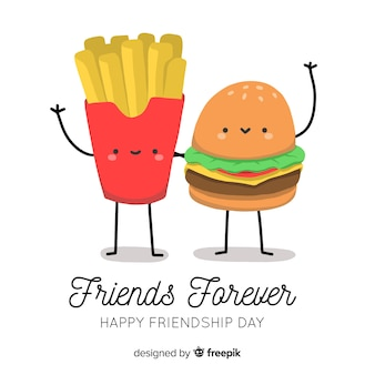 Fondo del día de la amistad dibujado a mano