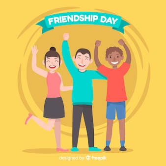 Fondo día de la amistad diseño plano