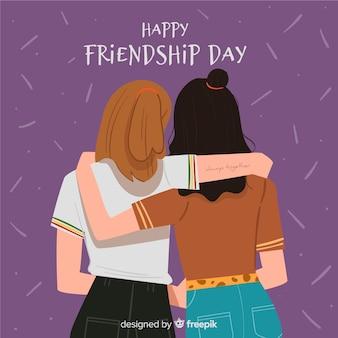 Fondo del día de la amistad en diseño plano