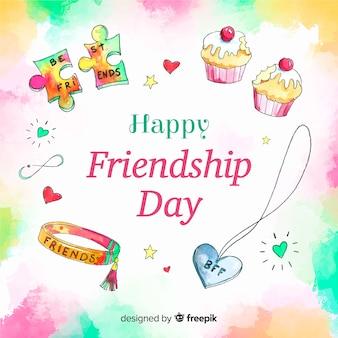 Fondo día de la amistad estilo acuarela