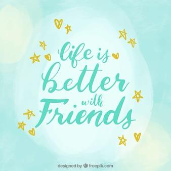 Fondo de día de la amistad con lettering