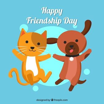 Fondo de día de la amistad con lindos animales