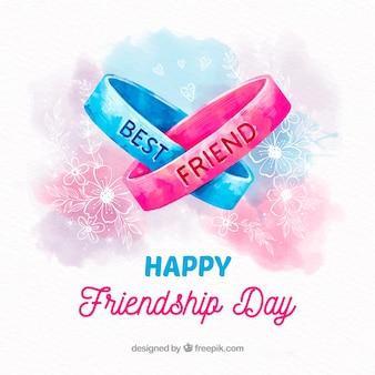 Fondo de día de la amistad con pulseras de acuarela