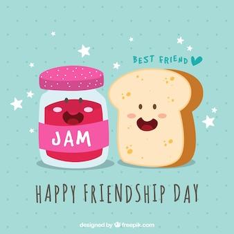 Fondo del día de la amistad con tostada y mermelada