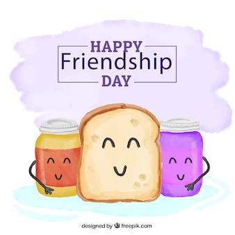Fondo del día de la amistad de tostada pintada a mano con mermelada