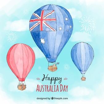 Fondo del día de australia en acuarela con globos aerostáticos