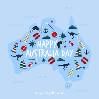 Fondo del día de australia dibujado a mano