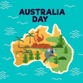 Fondo de día de australia dibujado a mano