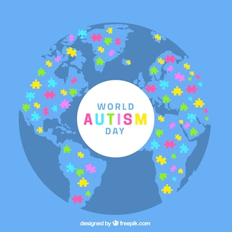 Fondo de día del autismo en estilo plano