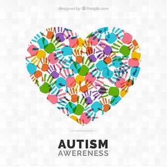 Fondo del día del autismo con huellas coloridas de manos