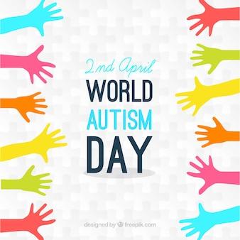 Fondo del día del autismo de manos coloridas