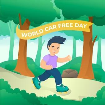 Fondo de día sin coche mundial de diseño plano