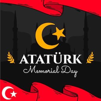 Fondo del día conmemorativo de ataturk dibujado a mano