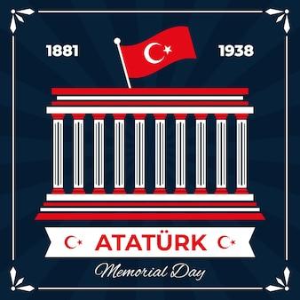 Fondo del día conmemorativo de ataturk de diseño plano