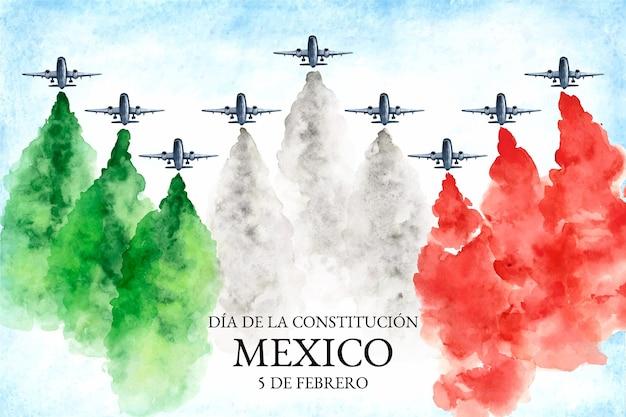 Fondo del día de la constitución en acuarela con bandera mexicana