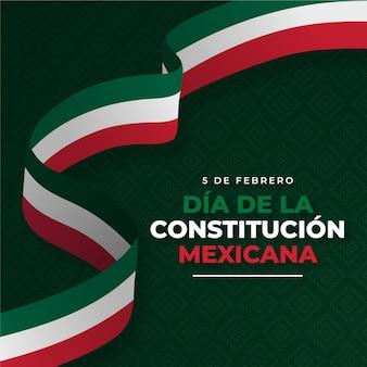 Fondo del día de la constitución con bandera mexicana