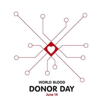 Fondo del día del donante con líneas y corazón